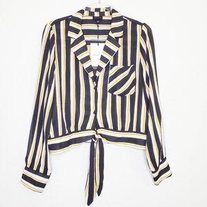 NWT WHO WHAT WEAR Long Sleeve Stripe Tie Waist Top